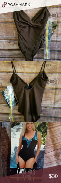 New Carol wior slimsuit swimsuit ladies 12 Brown New Carol wior slimsuit swimsuit designer collection. The suit that takes an inch off or more. Ladies size 12. Brown. Hidden underwear support bus with the natural look. Patented construction Slim's waist and stomach at least one inch. Smooth bulges, lift buttocks 1/2 inch & Slims hipline. Includes tape measure so you can see for yourself. carol wior Swim One Pieces