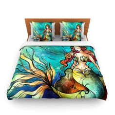 """Mandie Manzano """"Serene Siren"""" Duvet Cover Now Available in Fleece or Woven Fabric  - Great Gift Idea"""
