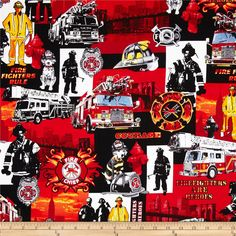 Kanvas Firefighters Rock Red from @fabricdotcom  Designed by Maria Kalinowski Kanvas in association with Benartex, this cotton print fabric is perfect for quilting, apparel and home decor accents. Colors include orange, red, white, grey and black.