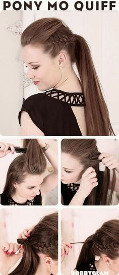 15 Different Ways to Make Cute Ponytails Mohawk Ponytail Quiff Mohawk Ponytail, Ponytail Hairstyles, Pretty Hairstyles, Puff Hairstyle, Mowhawk Braid, Stylish Ponytail, Braided Mohawk, Braided Pony, Hairstyle Ideas