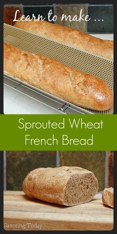 Sprouted Wheat French Bread: 3 Tips to Baking with Sprouted Wheat When we decided to eliminate white flour from our diet, a good French baguette was the one thing I missed most. This recipe will show you how to make healthier bread at home. Bread Machine Recipes, Flour Recipes, Bread Recipes, Whole Food Recipes, Thm Recipes, Simple Recipes, Diabetic Recipes, Sprouted Wheat Bread, Whole Wheat Bread