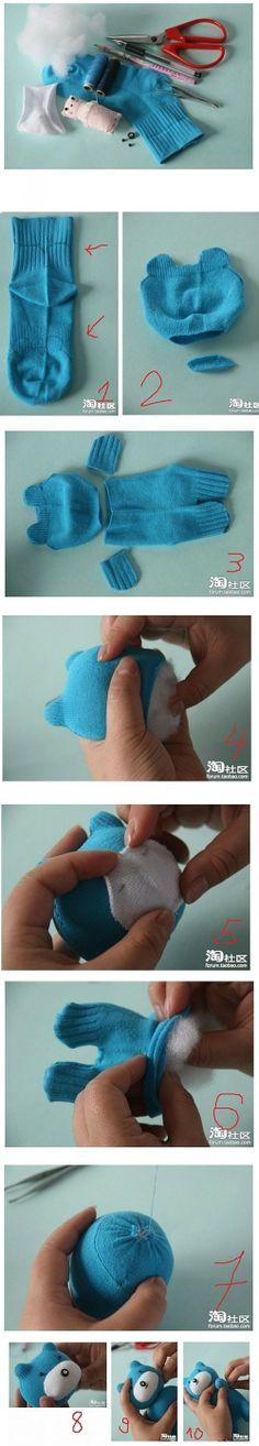 DIY photo tutorial to make a amigurumi teddy bear from a recycled or repurposed sock. Fun!