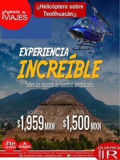 ¡¡Helicóptero sobre Teotihuacán¡¡ Llamanos: 8526-2188 ó 6363-6851 ó Escribenos: roma@romaagenciadeviajes.com O Visitanos en: Av. Cuauhtemoc179 A Colonia Roma, Mex D.FTeotihuacan México en Teotihuacán de Arista, Morelos