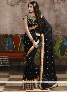 Ruritanian Black Patch Border Work Designer Saree  Email - support@ethnicoutfits.com Call - +918140714515 What's app/Viber- +918141377746