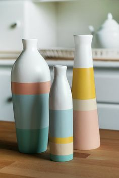 Set of 3 Painted Ceramic Vases Home Decor via Etsy