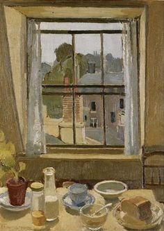 Interior - Margaret Brynhild Parker British, Oil on board, 61 x cm. 24 x 18 in. Window View, Window Art, Open Window, Through The Window, Light Painting, East London, Fabric Painting, Interior Paint, My Arts