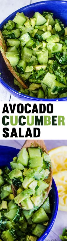Refreshing, bright and tangy Avocado Cucumber Salad. Ready in less than 10 minutes with a simple lemon-lime, dressing