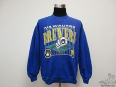 Vtg 90s Russell Athletic Milwaukee Brewers Crewneck Sweatshirt sz XL Baseball  #RussellAthletic #MilwaukeeBrewers  #tcpkickz