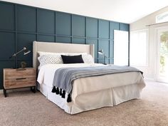 board and batten wall How to DIY a Board and Batten Wall: Dos and Don'ts - Angela Rose Home Master Bedroom Design, Home Bedroom, Bedroom Decor, Bedroom Headboards, Bedroom Kids, Master Suite, Accent Wall Bedroom, Accent Walls, Accent Chairs