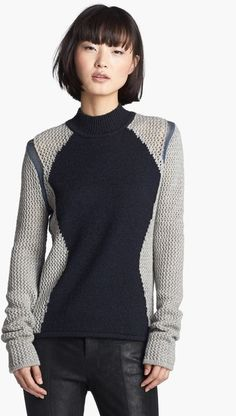 Helmut Lang Abstract Detail Sweater in Gray (Black/ Light Grey) - Lyst