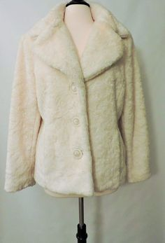 NWOT Braetan Faux Fur White Milk Womens Winter Coat Jacket Size L #Braetan #BasicJacket