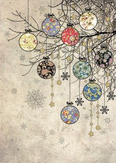 Holiday Fun Bauble Branches - christmas card design by Jane Crowther for Bug Art greeting cards. Christmas Paper, Vintage Christmas Cards, Christmas Images, Xmas Cards, Christmas Greetings, Christmas Holidays, Christmas Crafts, Christmas Card Designs, Christmas Doodles