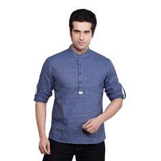 cb37f1f1 Handmade Shatranj Men's Kurta Tunic Banded Collar Multi-stripe Shirt (India)  | Overstock