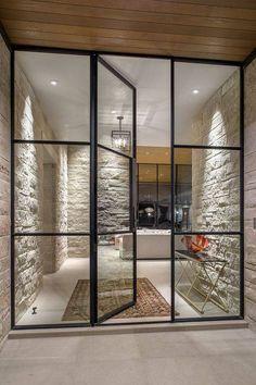 porta de vidro com metal entrada