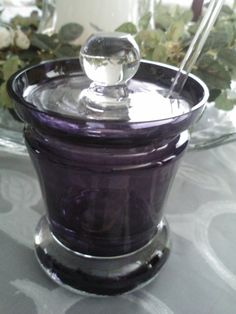 Amethyst Glass Jam Condiment Honey Jar/ by ArizonaMarmaladeShop, $27.50