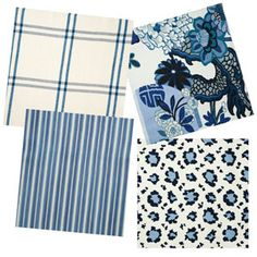 Sarah Richardson Canada cottage living room fabric.  Chiang Mai Dragon in China Blue, Kelby Ticking Stripe in Indigo, Luberon Plaid in Indigo, Randolph Leopard in Indigo.  Fabrics by Schumacher