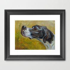 English pointer framed art print by Canis Art Studio #art #artprint #dog #gundog #pointer #painting #perportraits