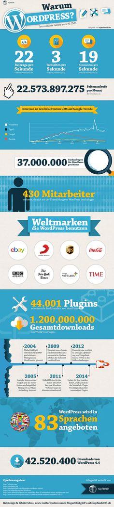 Diese Infografik stellt die Vorteile von Wordpress dar und beantwortet die Frage Warum Wordpress.