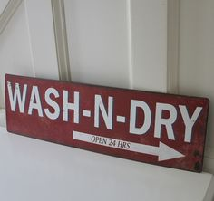 wash n dry sign plaque