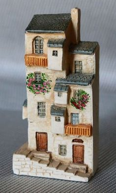 Signed J Carlton Hand Painted Miniature House Purchased/Made France 1992 Clay Houses, Ceramic Houses, Miniature Houses, Ceramic Clay, Cardboard Houses, Miniature Dolls, Doll Houses, Home Crafts, Diy And Crafts