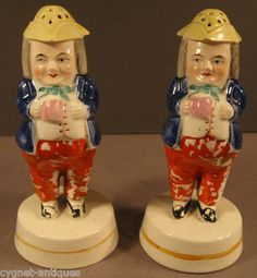 Mid 1800s Matched Pair of Staffordshire Pepper Pot Figural Shakers | eBay
