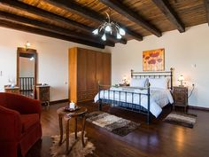 Rethymno villa rental - Master bedroom with access to a balcony!