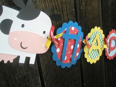 Farm Animals Happy Birthday Banner in primary colors on Etsy, $38.00