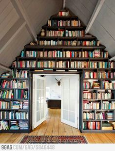 Floor to ceiling full wall bookshelf I want to make this happen somehow