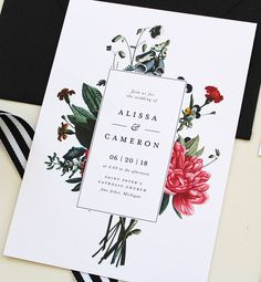 This modern and botanical design combines a vintage floral bouquet with timeless fonts. The design is completely customizable to match any wedding style. You can change the wording, size and information. ------------------------ PRINTED SUITES The default listing price is for 1 premium
