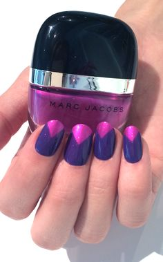 Neon nail inspiration: Marc Jacobs Beauty Assymmetrical Half Moon featuring shades Shocking and Lux #Sephora #SephoraNailspotting #nails #nailpolish