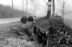An 82nd anti-armor bazooka team covers a road near Cheneux on December 20, 1944.Ardennes