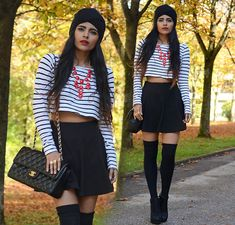 Black Knit Turban, Ebay Red Bubble Necklace, H&M Stripe Crop, Romwe Black Skater Skirt, Ebay Black Over The Knee Socks