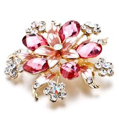 Clear Crystal Flower White Crystal Brooches And Pins
