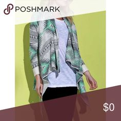 Asymmetric cardigan. Asymmetrical cardigan with geometric tribal print. No tie or button. Comfy and casual. Great for work or play. Material is full polyester. Sweaters Cardigans