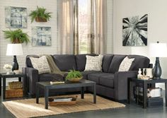 Ashley Alenya Sectional Sofa with Left Arm Facing Loveseat Right Arm Facing Sofa Pillows with Print Pattern and Track Arms in Charcoal Sectional, 3 Piece Sectional Sofa, Fabric Sectional, Charcoal Sofa Living Room, Gray Sectional, Modern Sectional, Sofa Sleeper, My Living Room, Home Decor