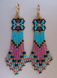 Seed Bead Earrings  Turquoise/Deep Fuchsia by pattimacs on Etsy, $20.00