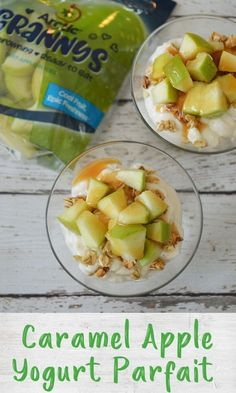These simple caramel apple parfaits need only 4 ingredients and are perfect for a healthy snack or breakfast that kids can easily assemble themselves! Healthy Appetizers, Healthy Breakfast Recipes, Healthy Treats, Snack Recipes, Healthy Yogurt Parfait, Quick Snacks, Eat Dessert First, Kid Friendly Meals, 4 Ingredients
