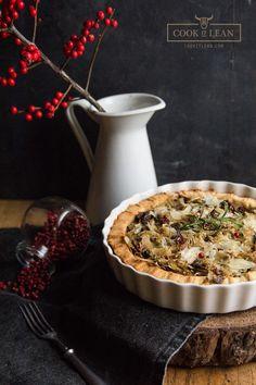 Grain free tart with sauerkraut and mushrooms