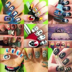 Blink 182, sleeping with sirens, a day to remember, paramore nails