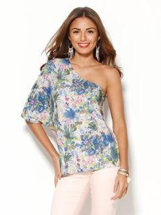 Camiseta mujer escote asimétrico estampada