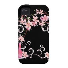 Abstract Floral Pink Blossoms with Vase iPhone 4 Cases