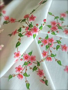 Sumptuous Hand Embroidered Vintage Apple Blossom