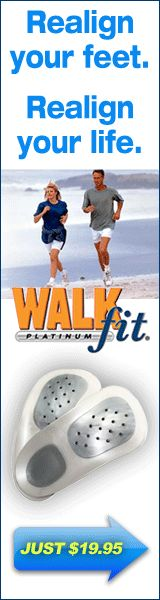 WalkFit Platinum Orthotics are shoe insoles specially designed to relieve foot pain. By walking correctly, WalkFit straightens your spine and hips to eliminate strains in your back, legs and pelvis.PLUS FREE BONUS ITEMS – LIMITED TIME OFFER • FREE sandal adaptor! • FREE soothing peppermint lotion! • FREE accupressure Massage Inserts • FREE lifetime Replacement Warranty! • Risk Free Trial of WalkFit® Joint Support Formula Unconditional 30-day money-back guarantee
