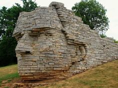 Giant Chief's Head Busts Out of a Limestone Wall - My Modern Metropolis