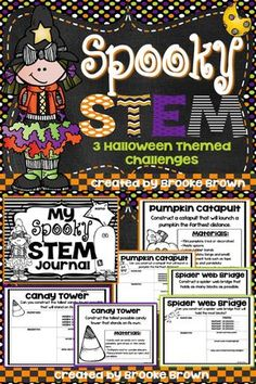 Pumpkin Catapults, Spider Web Bridges, and Candy Towers! THREE Halloween STEM…