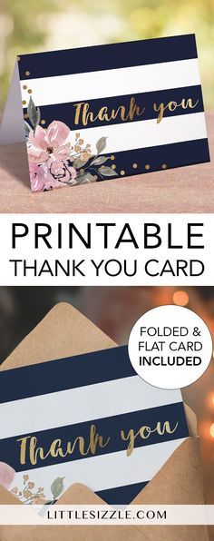 Printable thank you cards for navy, pink and gold themed shower by LittleSizzle. Thank your guests with these gorgeous and chic thank you cards with navy stripes, pink florals and gold confetti. Simply download and print in just minutes. #DIY #printable #thankyou #thankyoucard #partysupplies