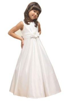 Amazon.com: KID Collection Girls White Flower Girl Communion Dress Size 14: Clothing