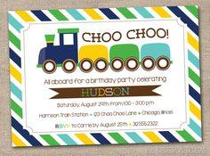 Choo Choo Train Birthday Party Invitation by InkObsessionDesigns, $16.00