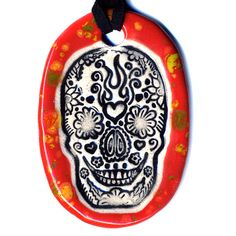 Day of the Dead Sugar Skull Ceramic Necklace in Speckled by surly, $18.00