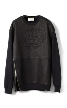Phillip Lim Stretch Nappa Leather Oversized Sonomama Quilted Sweatshirt